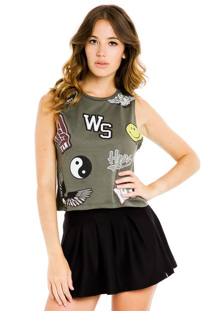 Musculosa Verde 47 Street Parches