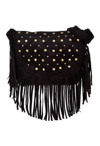Cartera Negra Aldei Bags con Flecos y Tachas
