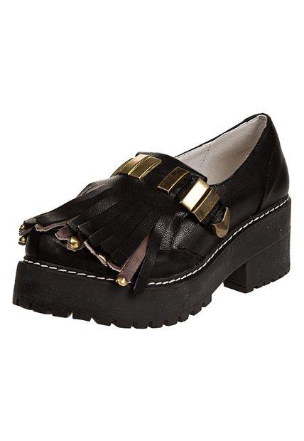 Zapato Negro Anca & Co con Flecos
