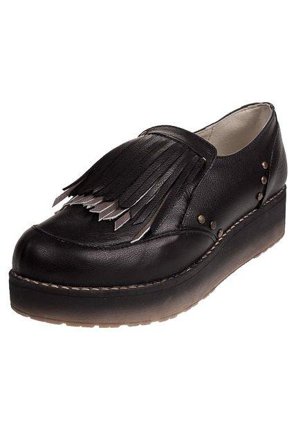 Zapato Negro Anca & Co con Plataforma y Flecos