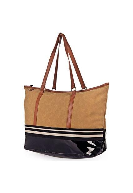 Bolsa Shopping Camel Chenson Tira Bicolor
