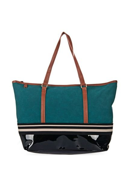 Bolsa Shopping Verde Chenson Tira Bicolor