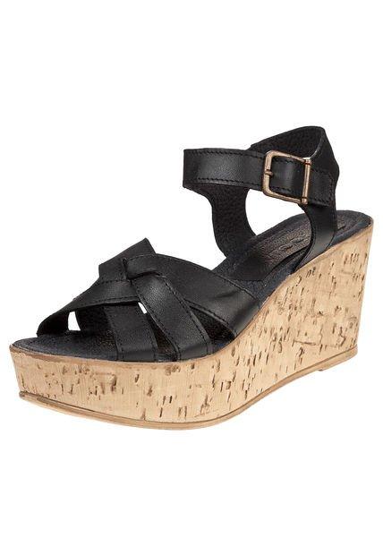 Sandalia Negra Foglia Asclepias
