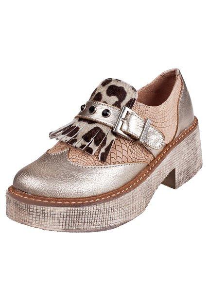 Zapato Dorado Heyas Since con Flecos