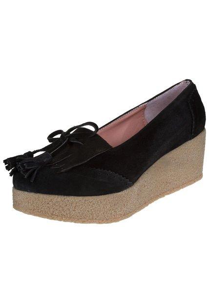 Zapato Negro Heyas con Flecos Alma