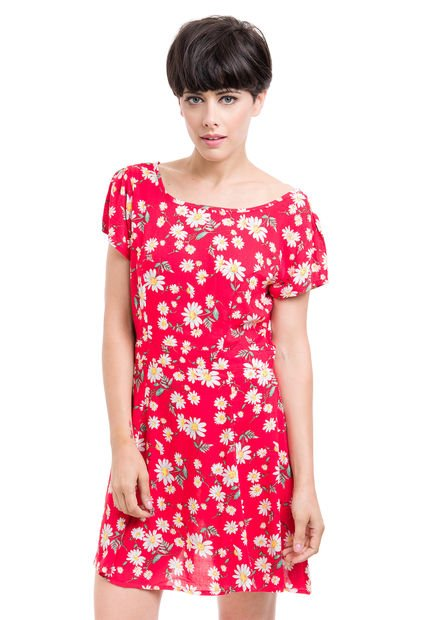 Vestido Rojo Inversa Ace Of Face Floreado