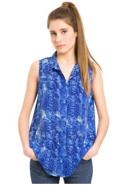 Camisa Azul Julien Snake Melody