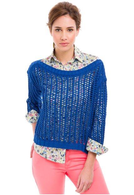 Sweater Azul Kevingston Mujer Maura Calado