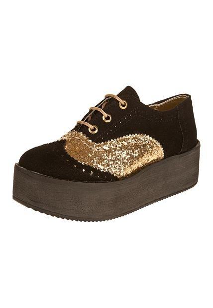 Zapato Negro Las Medusas Combinado Oro