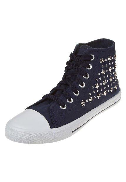 Zapatilla Azul Lucerna con Tachas Estrellas