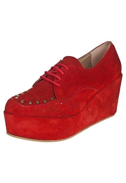 Zapato Rojo Lucerna Acordonado con Plataforma