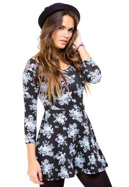 Vestido Negro Muaa Floral