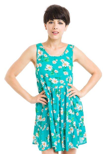 Vestido Verde Muaa Athia Floreado