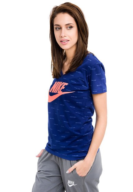 Remera Azul Nike Mid V FW JDI Repeat