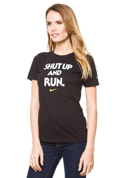 Remera Negra Nike Em Run P Shut Up