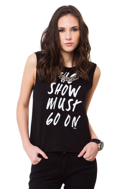 Remera Negra Ona Saez The Show Must Go On