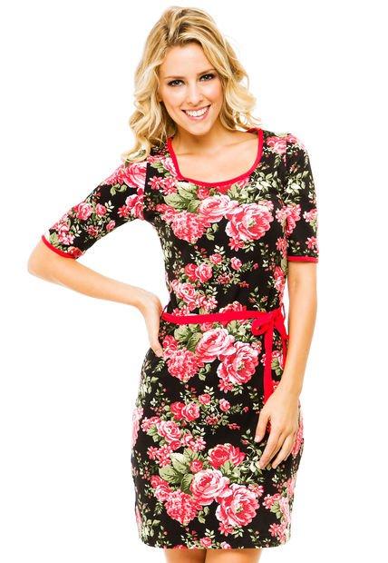 Vestido Coral Prussia Floreado
