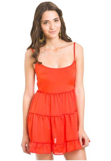 Vestido Naranja Rie Vegas Volados Cascada