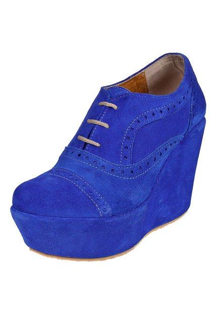 Zapato Azul Salvame Maria Acordonado