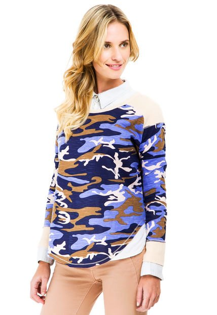 Remera Azul System Camouflage