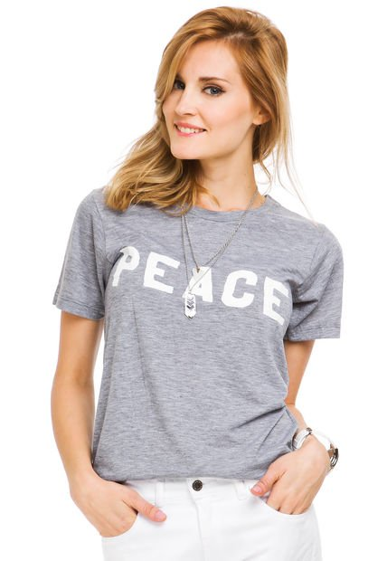 Remera Gris Melange System Peace