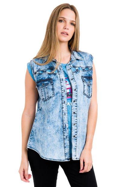 Camisa Celeste Taverniti Circe de Jean
