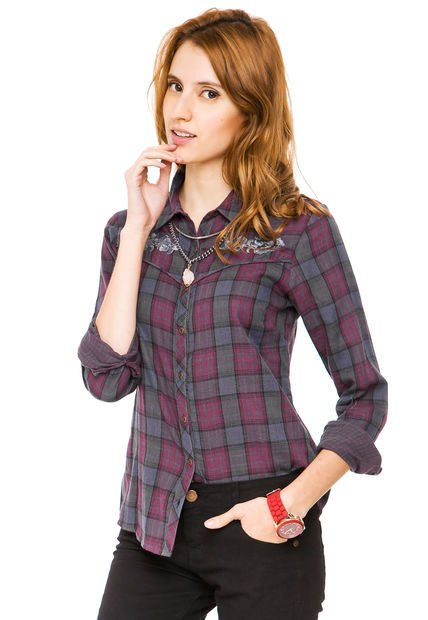 Camisa Violeta Ted Bodin Escocesa