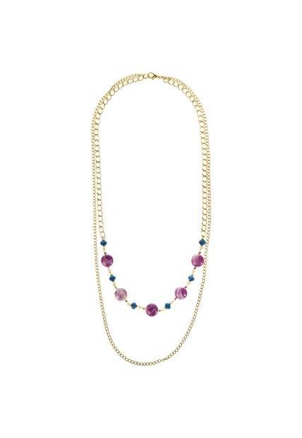 Collar Violeta Vespertine Dos Cadenas y Piedras
