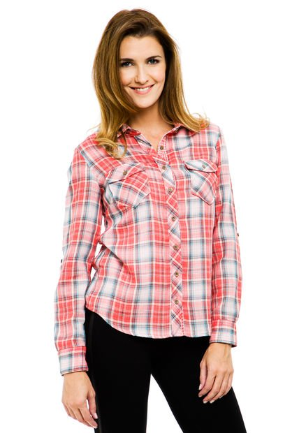 Camisa Coral Yagmour Escocesa Bifaz