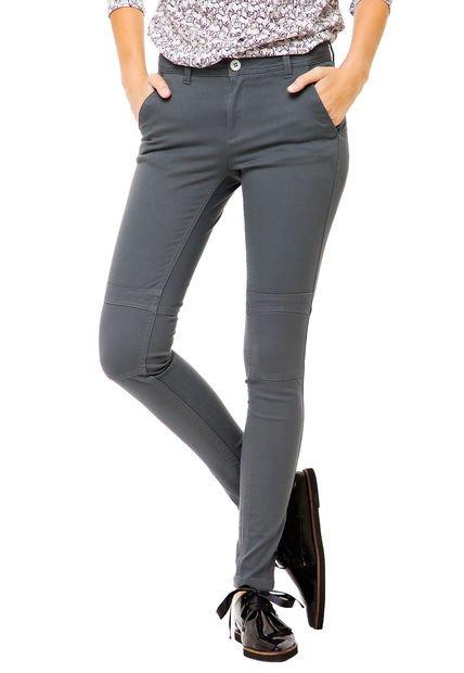 Pantalon Gris Yagmour Skinny Tiro Medio
