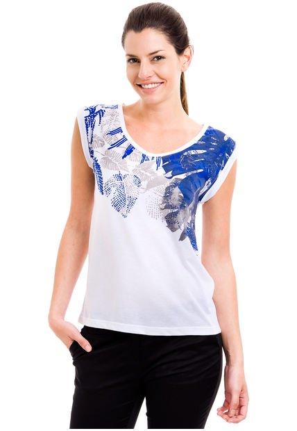 Remera Blanca Yagmour Hojas Azul