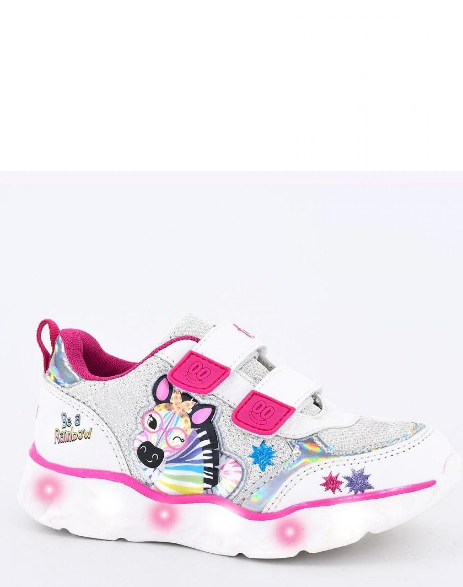 Zapatilla Blanca Footy Zebra Glitter Con Luces Funny Store