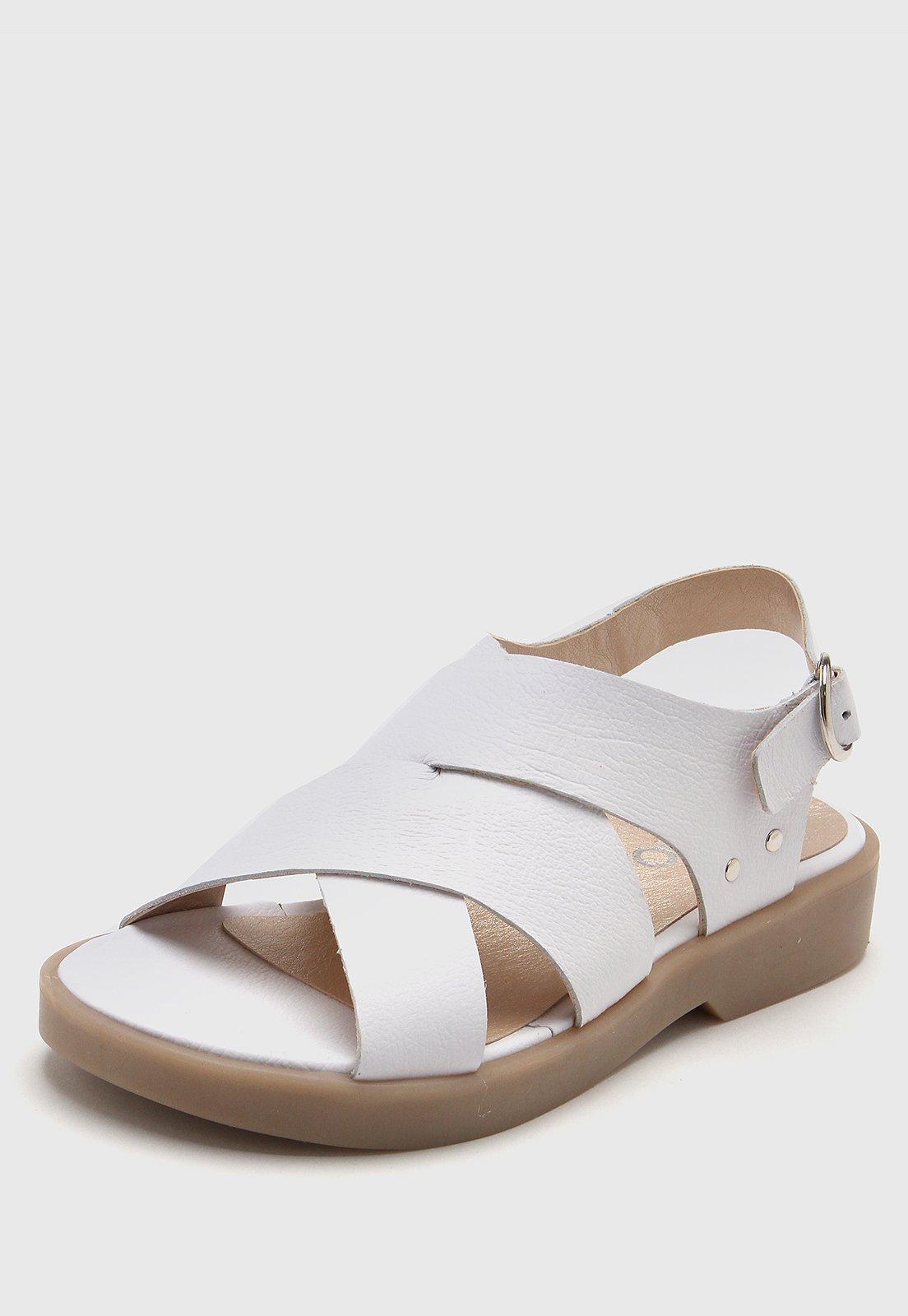 Sandalia de Cuero Blanca Viamo Lis
